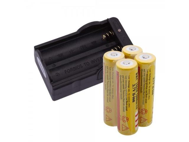 4pcs Ultra Fire 18650 3.7V 5000mAH Lithium Rechargeable Battery +18650 Battery