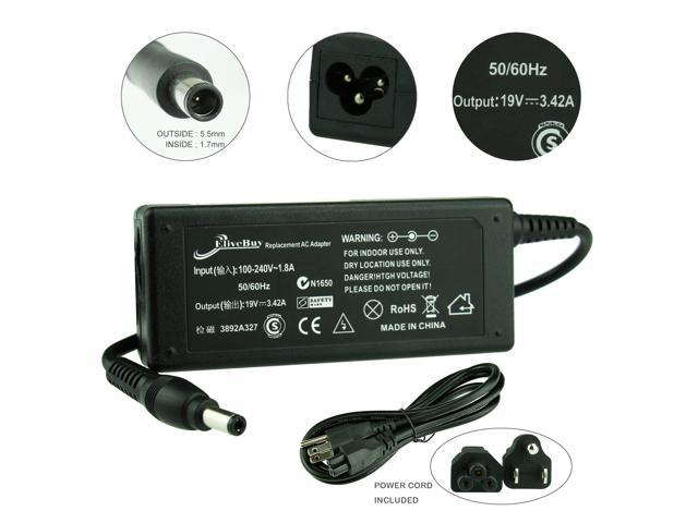 [2 Years Warranty] Elivebuy® new 19V 3.42A 65W AC Power Supply Adapter Charger 5.5x1.7mm for Acer laptop