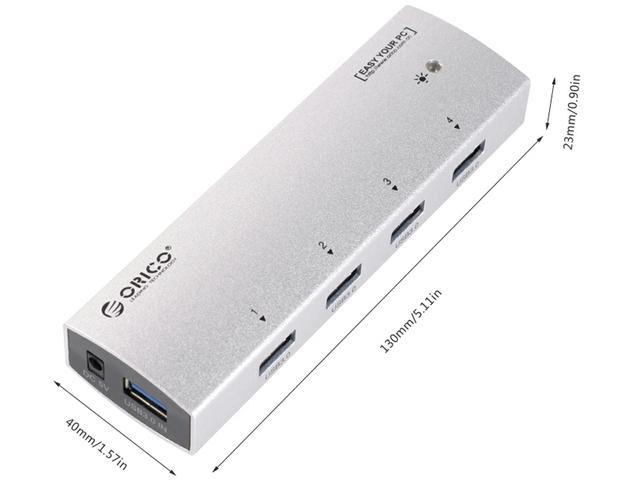 ORICO AS4P-U3 Premium USB 3.0 4 Port Aluminum USB HUB for iMac, MacBook, MacBook Pro, MacBook Air, Mac Mini, or any PC - Silver