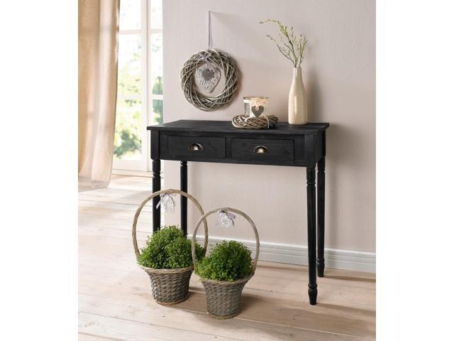 Antique-Style 2 Drawer Wood Side Table or Console w/ Brass Finish Handles