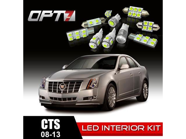 OPT7 16pc Interior LED Replacement Light Bulbs Package Set for 08-13 Cadillac CTS | White