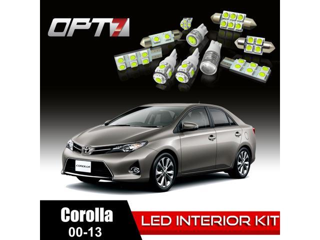 OPT7 14pc Interior LED Replacement Light Bulbs Package Set for 00-13 Toyota Corolla | White