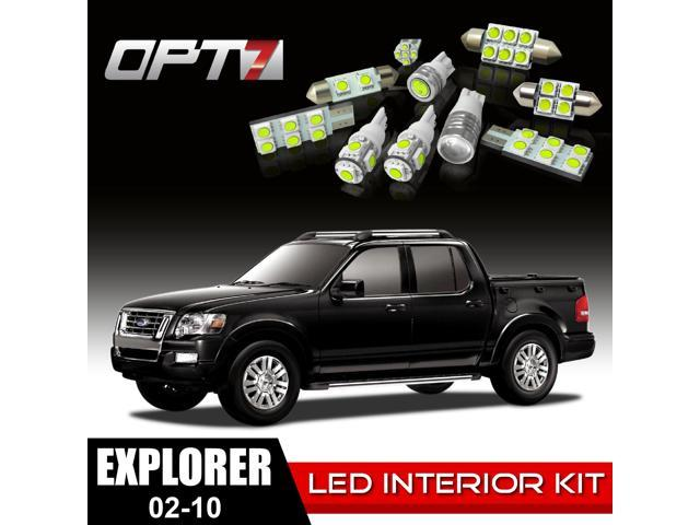 OPT7 20pc Interior LED Replacement Light Bulbs Package Set for 02-10 Ford Explorer | White
