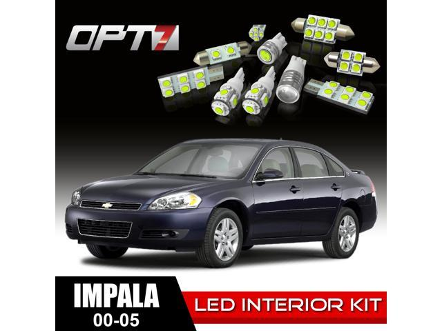 OPT7 16pc Interior LED Replacement Light Bulbs Package Set for 00-05 Chevy Impala | White
