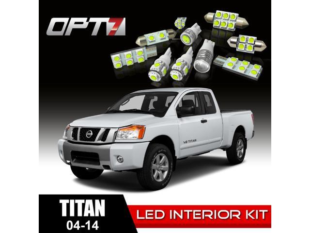 OPT7 16pc Interior LED Replacement Light Bulbs Package Set for 04-14 Nissan Titan | White