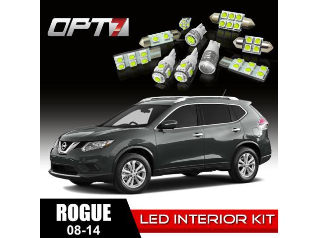 OPT7 12pc Interior LED Replacement Light Bulbs Package Set for 08-14 Nissan Rogue | White