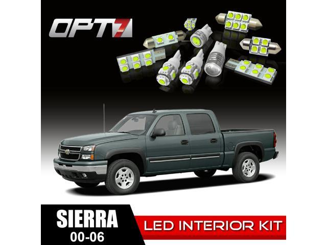OPT7 16pc Interior LED Replacement Light Bulbs Package Set for 00-06 GMC Sierra | White