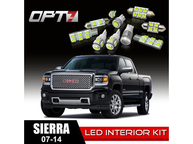 OPT7 14pc Interior LED Replacement Light Bulbs Package Set for 07-14 GMC Sierra | White