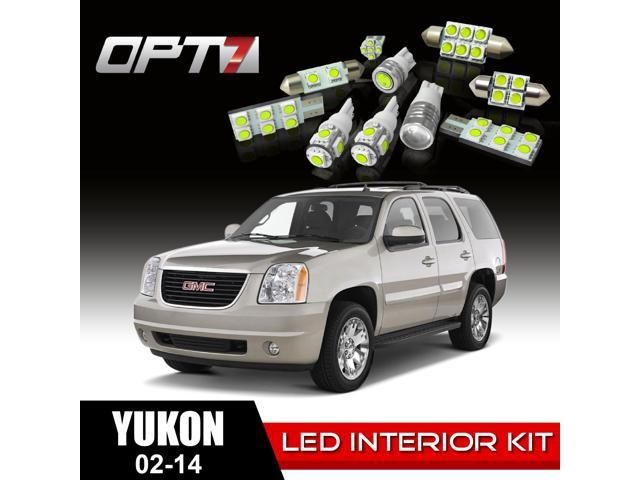 OPT7 16pc Interior LED Replacement Light Bulbs Package Set for 02-14 GMC Yukon | White