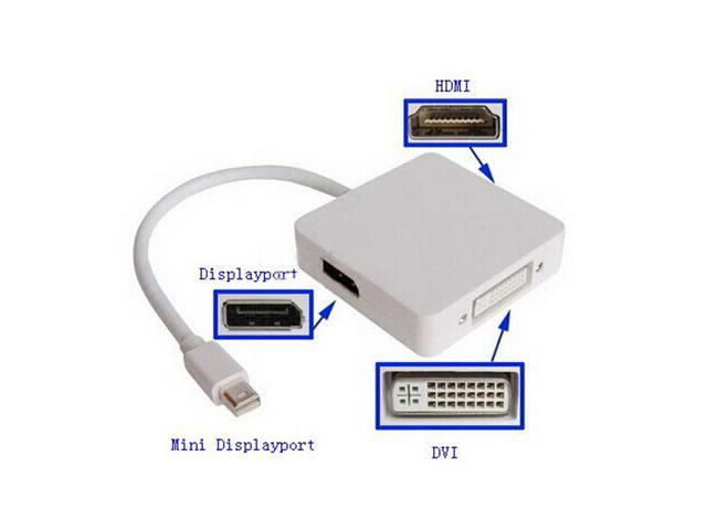 Mini DP To Displayport Multi-function 3 in 1 Thunderbolt Mini Displayport to HDMI DVI Cable Adapter for Macbook Pro Air PC