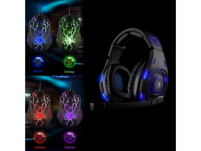 Original SADES SA-907 Game Headset Studio Headphone+Sades Cataclysm Pro 3500 DPI 4 Colors LED Opitical Peripherals USB Wired mouse
