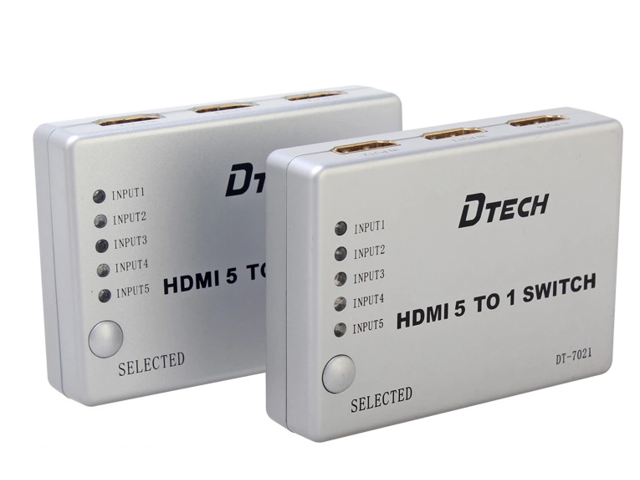DTECH DT-7021 5-to-1 HDMI Video Switch with Remote Control