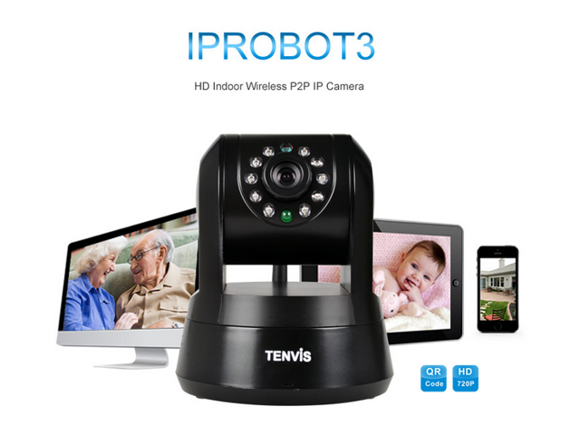 IPROBOT3 H.264 720P HD P2P Pan & Tilt Wirelss IP/Network Camera with Two-Way Audio and Night Vision (Black)