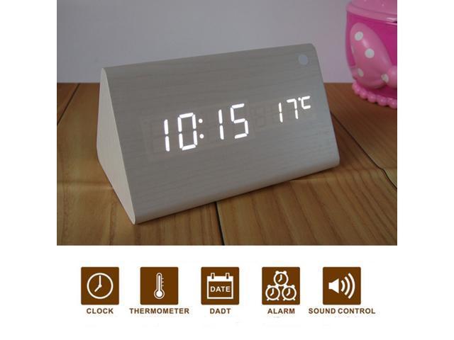Glovion Modern Triangle Wooden Imitation Desk White LED Digital Alarm Clock -Time Temperature Date Voice Sound Control (Included Us Plug )