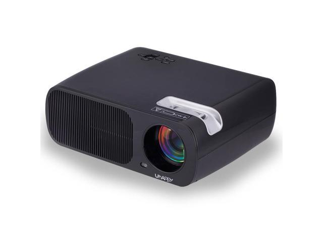 Uhappy U20 5.0 inch Portable LED Projector 3000 lumens 3D Mini Projector HD 1080P home theater projectors (Black)