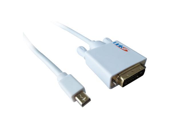 LinkS Gold Plated Mini DisplayPort DP| Thunderbolt to DVI Cable in White 6 Feet—Ship From US