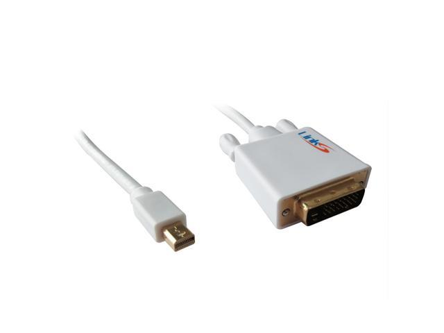 LinkS Gold Plated Mini DisplayPort DP| Thunderbolt to DVI Cable in White 10 Feet—Ship From US