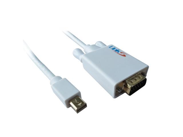 LinkS Gold Plated Mini DisplayPort DP| Thunderbolt to VGA Cable in White 10 Feet—Ship From US
