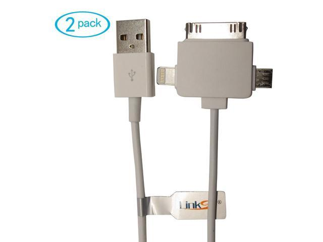 LinkS 3ft/feet 3-in-1 USB Sync & Charger Cable Designed for All iPhones, iPods, iPads, Androids, Bluetooth Headsets, BlackBerry (2pack)(30pin + ...