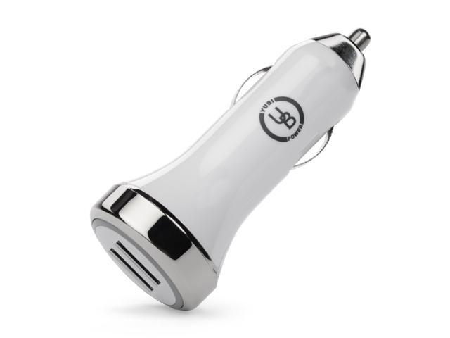 Yubi Power YPCC-210W 2.1Amps / 10W Dual USB Car charger Designed for Apple and Android Devices - White