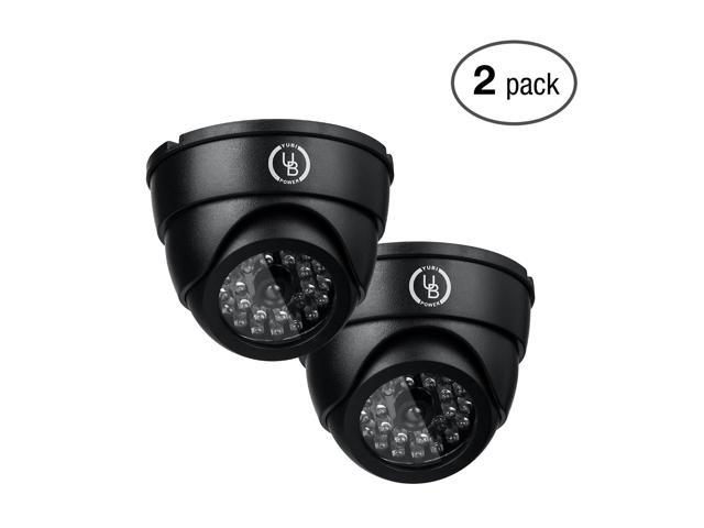Yubi Power 2 Pack YB-250 Fake Outdoor Dome Surveillance Dummy Security Cameras with Blinking LED Lights (Black)