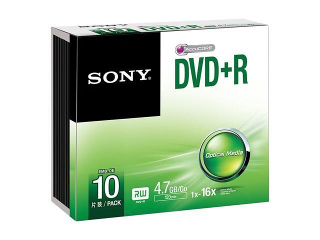 SONY DVD+R 4.7GB 16x pk 10 Slim Case recordable discs dvdr blank media