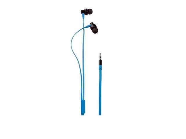 Grundig 48536 Stereo Metal Blue Earphone w/Flat cable & Mic