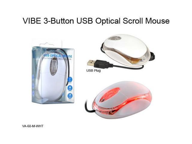 VIBE USB Optical Scroll Wheel 3-Button 800 dpi White Clear Notebook Mouse