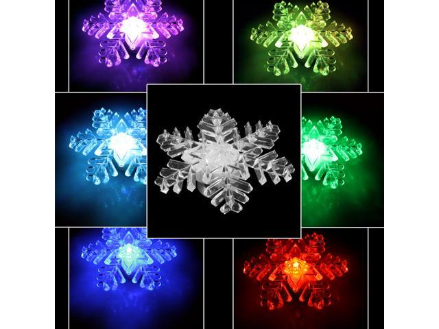 Snowflake LED Light Christmas Ornament Party Lamp Color Changing Window Light