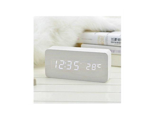 Vibob Voice Control Wooden Wood USB/AAA Digital LED Display Alarm Clock With Time/Thermometer(White-White)