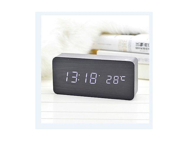 Vibob Voice Control Wooden Wood USB/AAA Digital LED Display Alarm Clock With Time/Thermometer(Black-White)