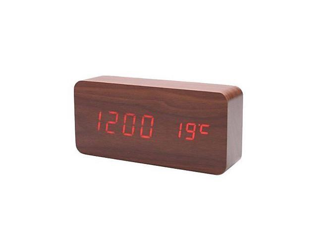 Vibob for Home/Office * Rectangle Brown Wooden Red LED Alarm Clock Time Temperature