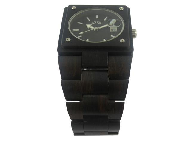 ThyFashion Men's Black Rectangle Black Wooden Watches with 38 X 34 Mm Size W00003