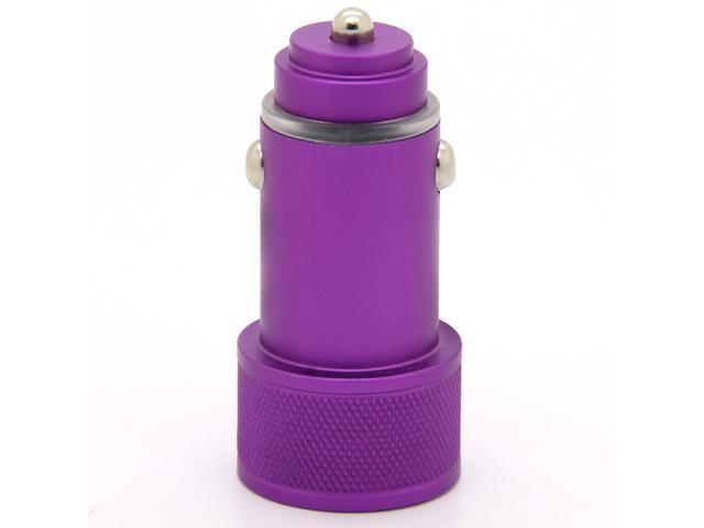 Premium Aluminum Alloy Mini USB Car Charger 2.4A Fast Power AC Charging Adapter For Tablet iPad iPhone Samsung Cell Phone Purple