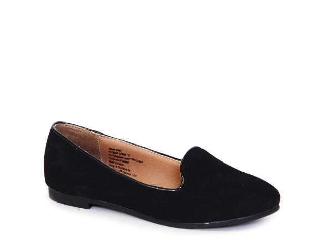 Women Moonwalk Black Suede Loafer Flat