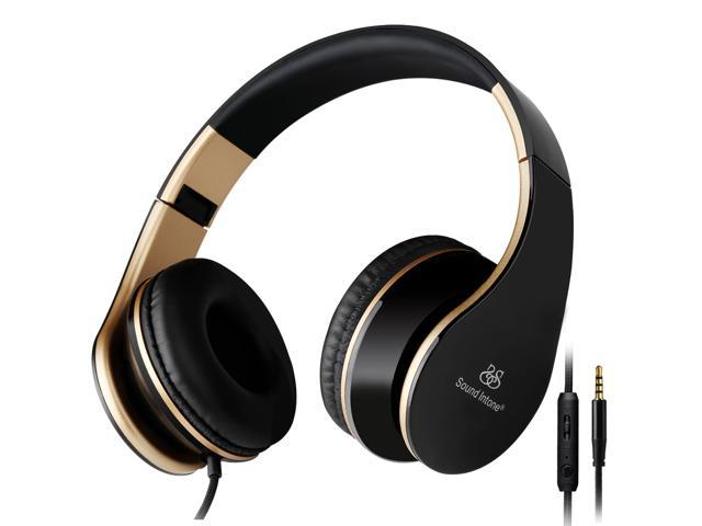 Sound Intone i65 Lightweight Folding 3.5mm Hi-Fi Stereo Over-ear Swivel Cups/ Portable Stretch Headsets With Noise Cancelling/In-line Volume ...