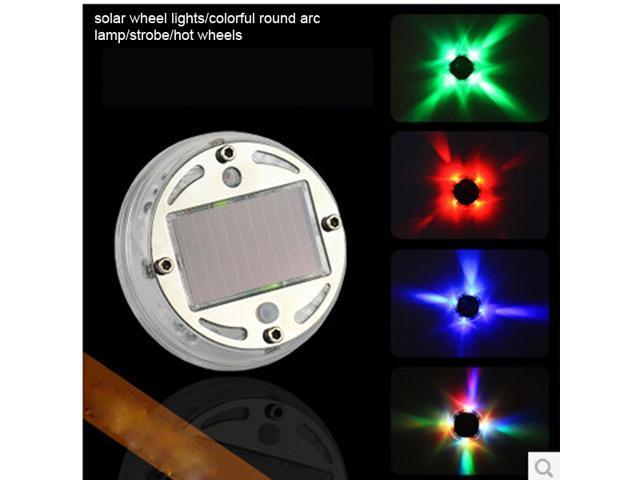11 models 6.5cmx1.8cm 4 colors 12 LED solar auto-car wheel lights/colorful round arc lamp/strobe
