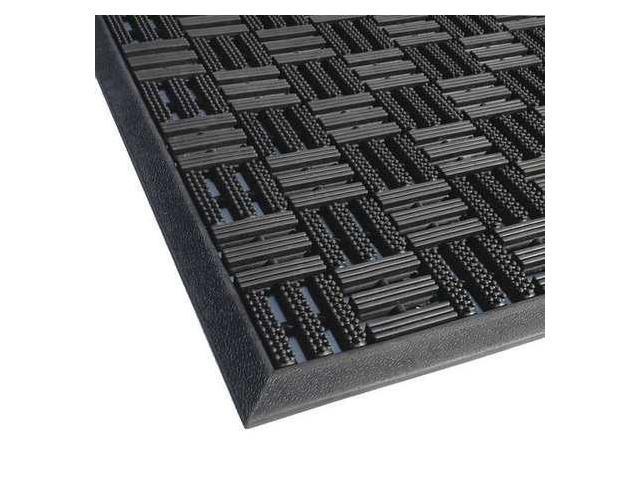 APACHE MILLS 39392090036X59 Rubber Entrance Mat, Black, 3x4 ft. 11 In.