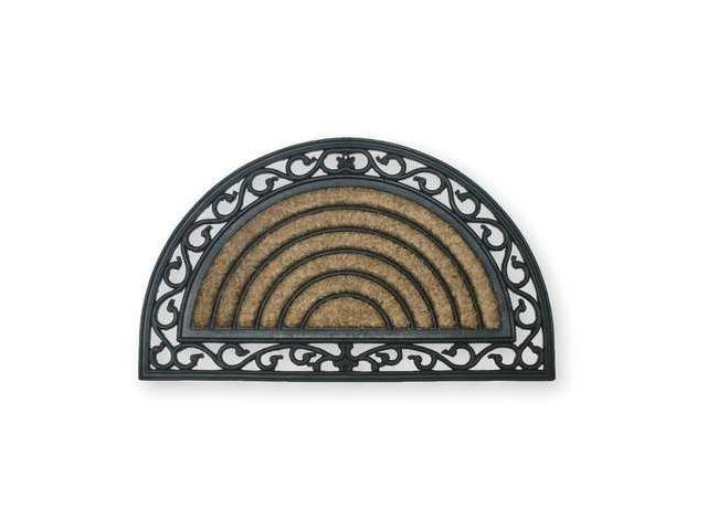 Mat,Rubber Grill,w/Coir,Natural/Black,18x30In, Half Circle, w/Rubber in Coir