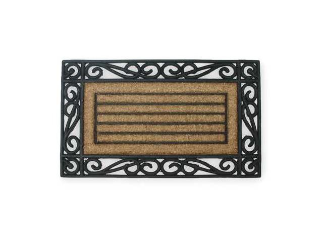 Mat,Rubber Grill,w/Coir,Natural/Black,18x30In,Rectangle
