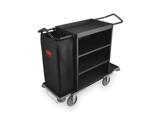 RUBBERMAID FG9T6300BLA Housekeeping Cart, Black, Steel, 3 Shelf
