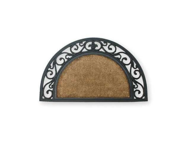 Mat,Rubber Grill,w/Coir,Natural/Black,18x30In,Half Circle