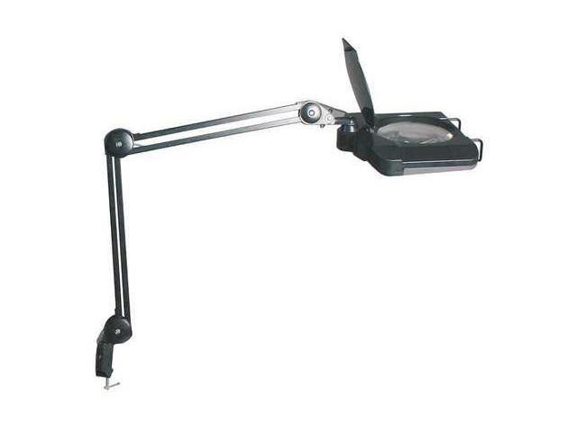 LUMAPRO 10C910 LED Square Magnifier Lamp, black