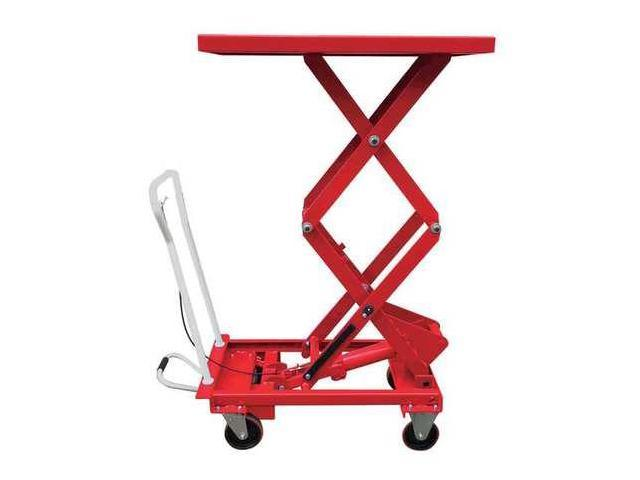 DAYTON 33W295 Scissor Lift Cart, 660 lb., Steel, Fixed