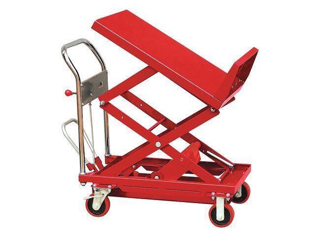DAYTON 33W290 Scissor Lift Cart, 600 lb., Steel, Tilt