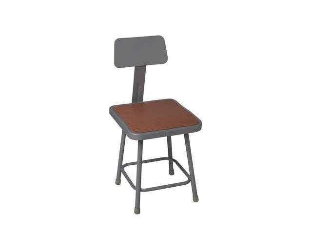 NATIONAL PUBLIC SEATING 6318HB Stool, Backrest, Adjstble, Sq, Steel, Gray