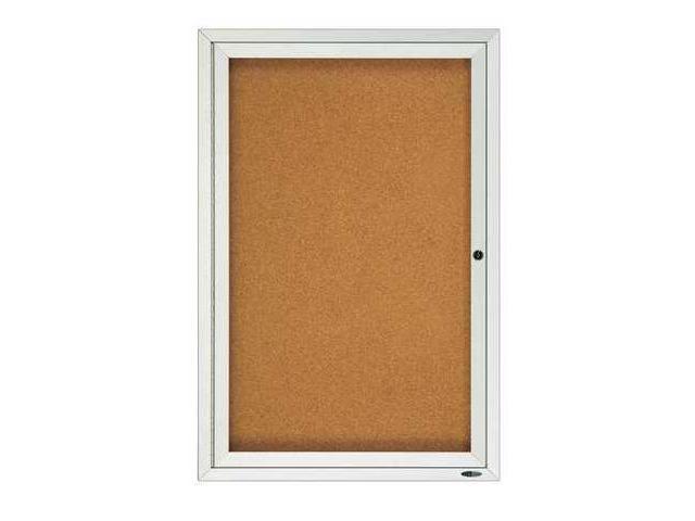 QUARTET 2121 Enclosed Bulletin Board, Cork, 24 x 36 In.