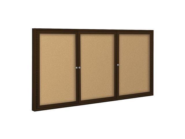 BALT 94PCHI Enclosed Bulletin Board,Coffee,3 Door G6064484