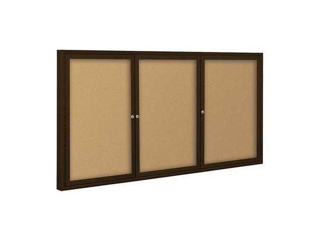 BALT 94PC2I Enclosed Bulletin Board,Coffee,3 Door G7571611