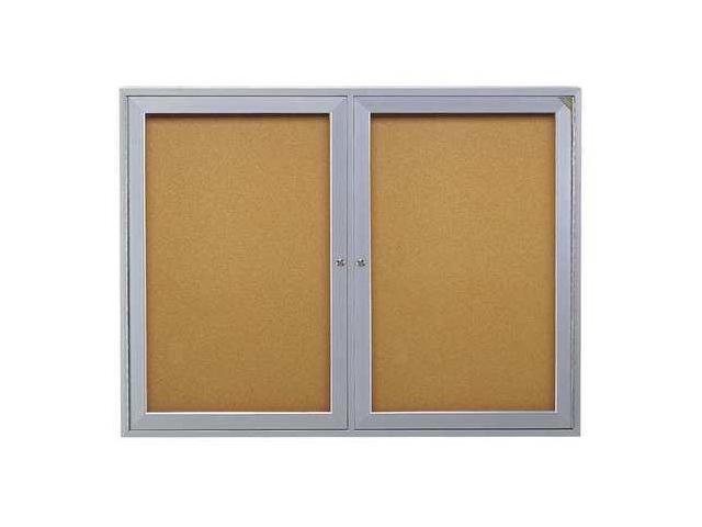 GHENT PA24860K Enclosed Bulletin Board, Cork, 60x48 In.